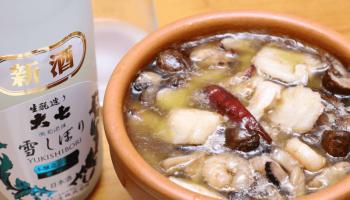 蛸と帆立のアヒージョと大七酒造/大七 雪しぼり 本醸造にごり酒