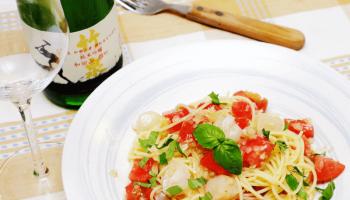 トマトとホタテの冷製パスタ
