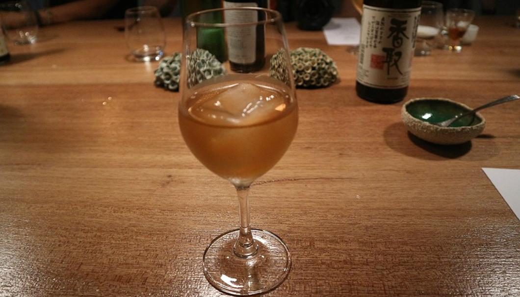 デザート酒として振る舞われた和歌山県・平和酒造の「すっぱい梅酒」