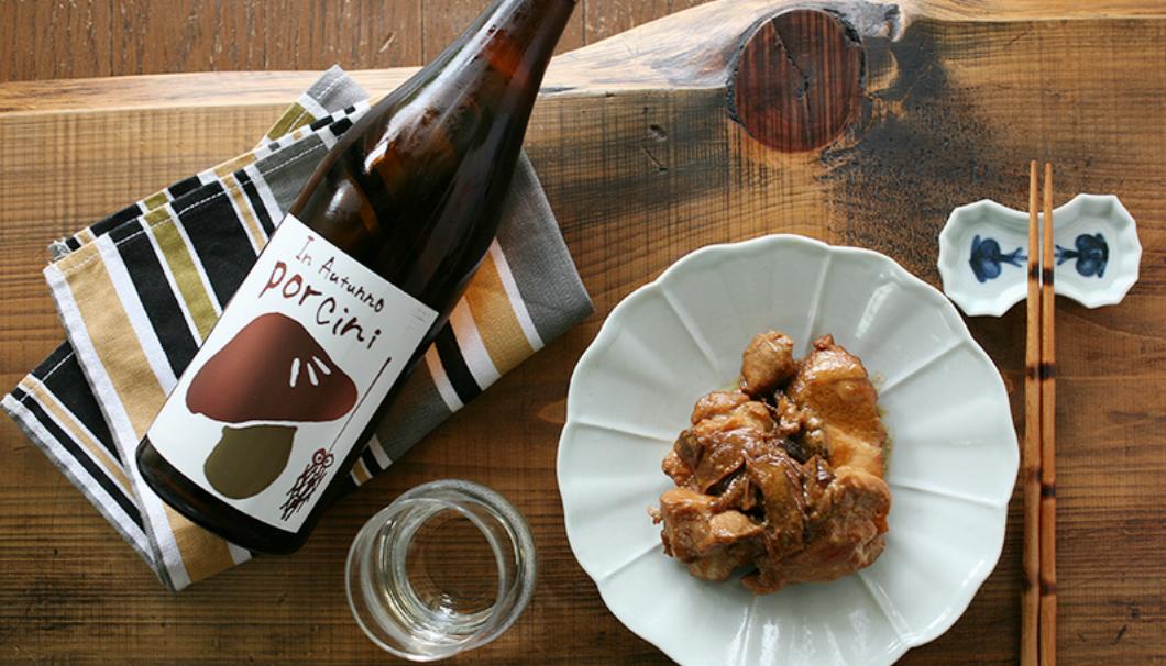 「三井の寿 純米吟醸 porcini」と 鶏肉とポルチーニの生クリーム煮