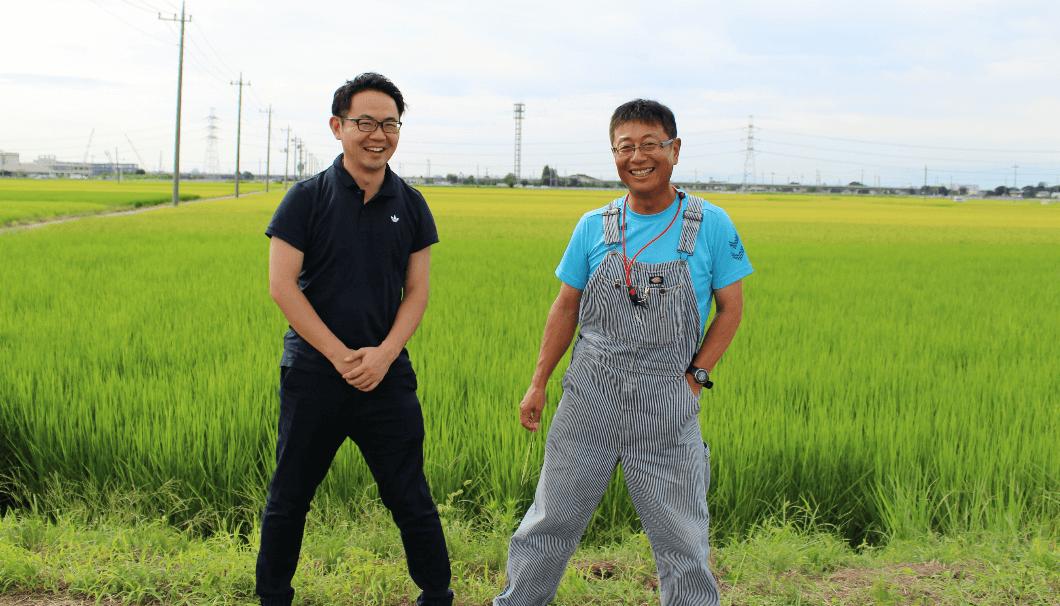 石井酒造8代目の石井誠さんと、中山農場取締役の中山研二さん