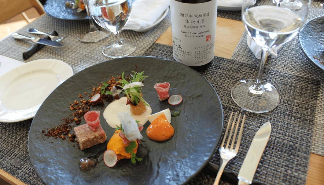 「フラテッロ・ディ・ミクニ」の料理と上川大雪酒造の試験醸造酒(第4号)