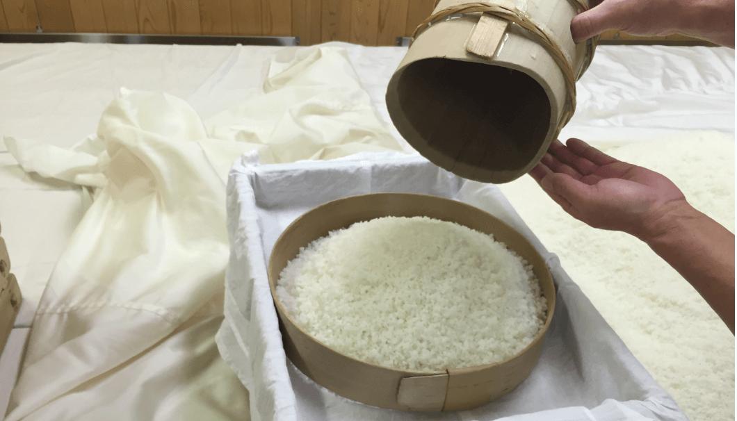 麹米を蓋麹に移し変えている写真