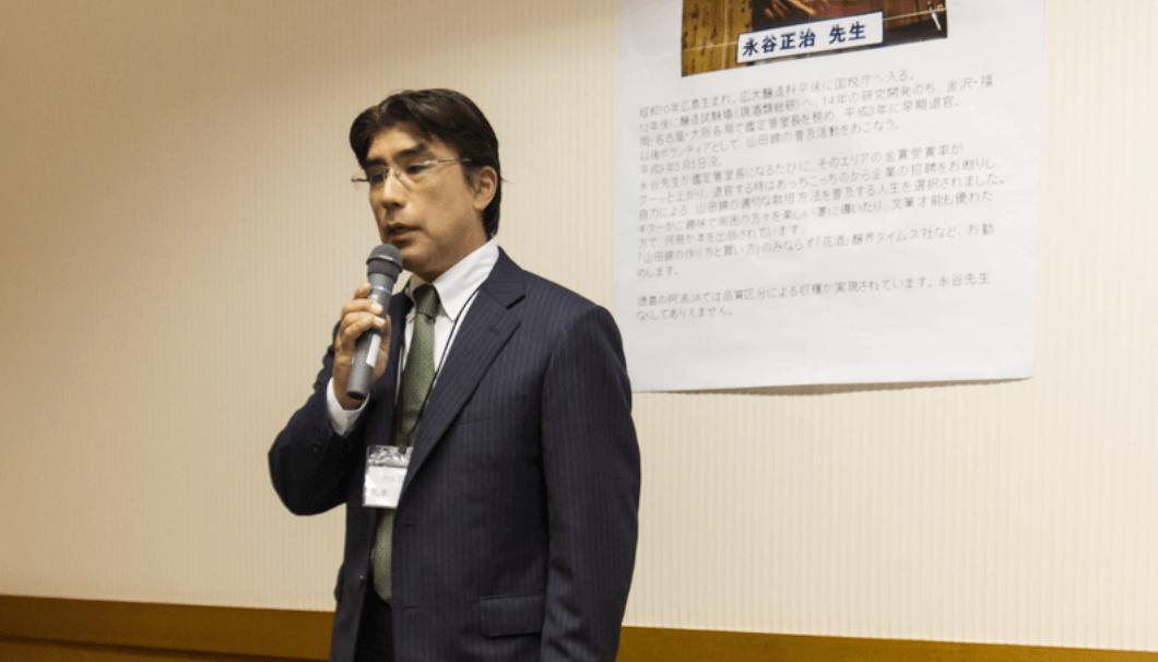 酒蔵による酒米栽培について語る、丸本酒造代表の丸本仁一郎氏