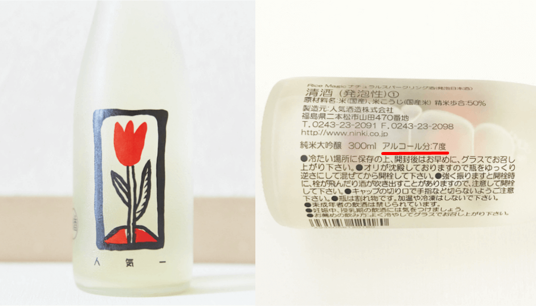 「Rice Magic」(人気酒造株式会社/福島県二本松市)の裏ラベル