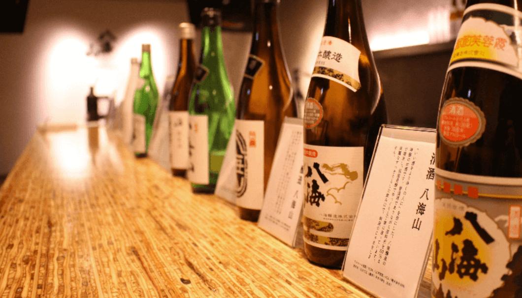 日本酒「八海山」が並ぶ様子