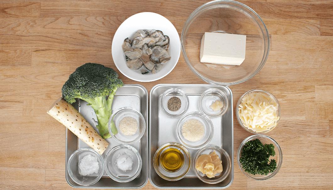 2品目「牡蠣の豆腐クリームグラタン」食材