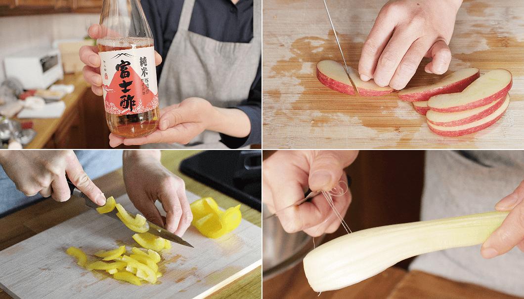 1品目「ホタテとリンゴのあっさりマリネ」の材料の料理手順写真