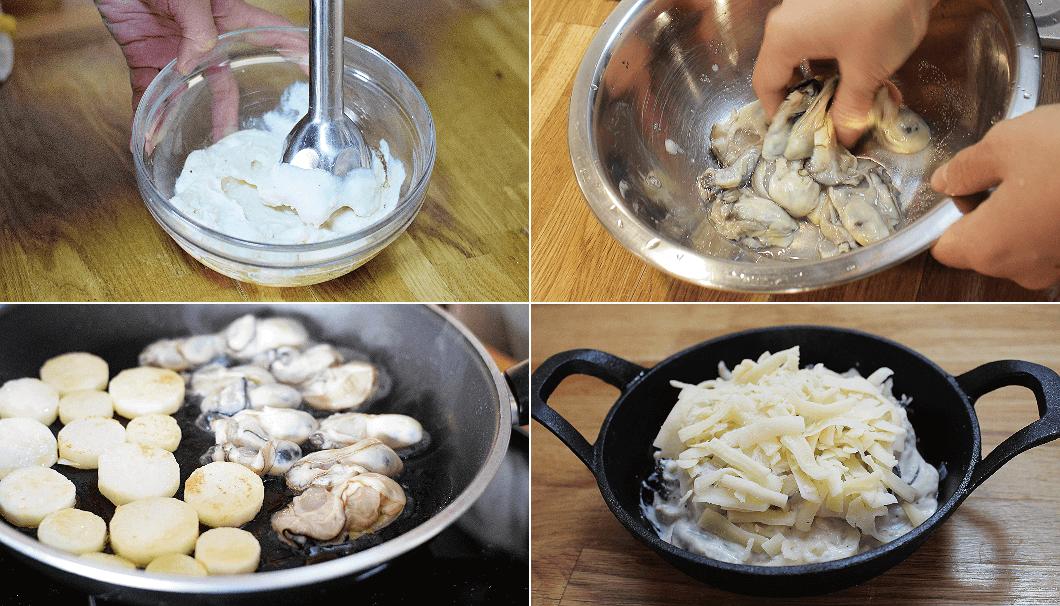 2品目「牡蠣の豆腐クリームグラタン」料理手順