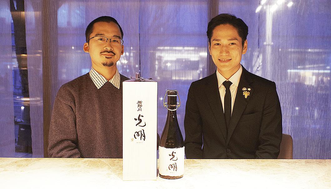 「ジャンジョルジュ東京」ソムリエ藤原氏(右)と「SAKETIMES」編集長小池氏(左)