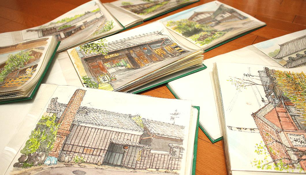 丁寧に解説しながら加藤忠一さんが見せてくれた水彩画の作品の数々