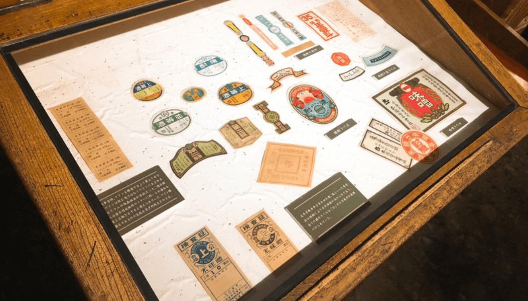 国稀酒造で過去に使用していたラベルの展示