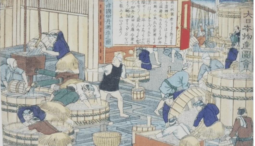 日本山海名産会図に描かれた江戸時代の酒造りの様子