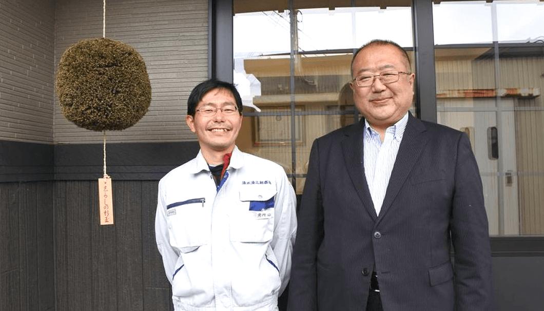 清水清三郎商店の清水蔵元社長と内山杜氏