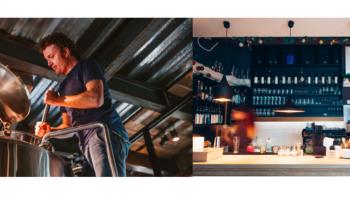 お酒を醸している男性の写真と、バーのカウンターの写真