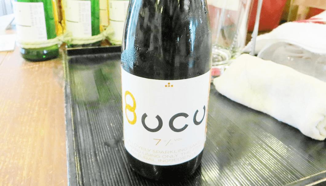 富久錦のスパークリング日本酒「Bucu(ブク)」。