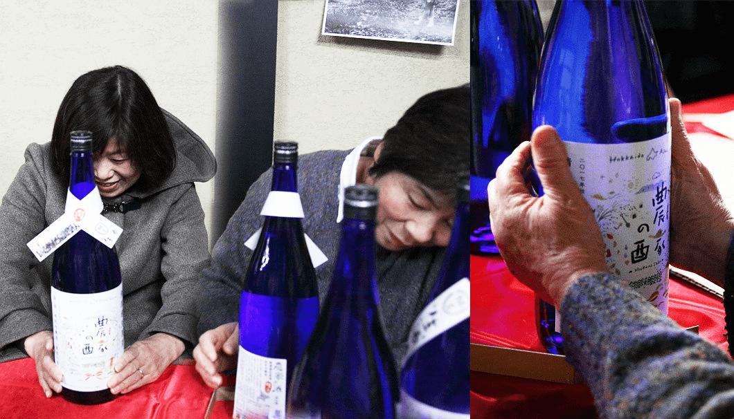農家の酒プロジェクト2017・ラベル貼りの様子