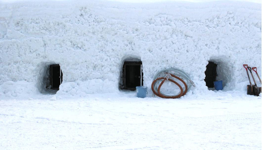 北鹿の雪中貯蔵をしているタンク外観