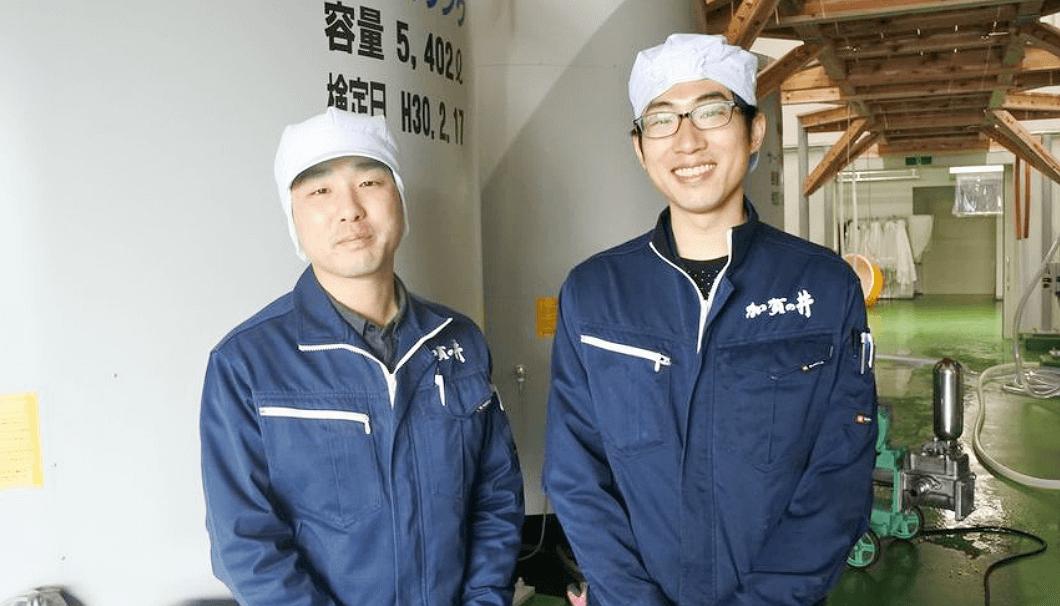 加賀の井酒造の蔵元・小林大祐さん(左)と久洋さん(右)