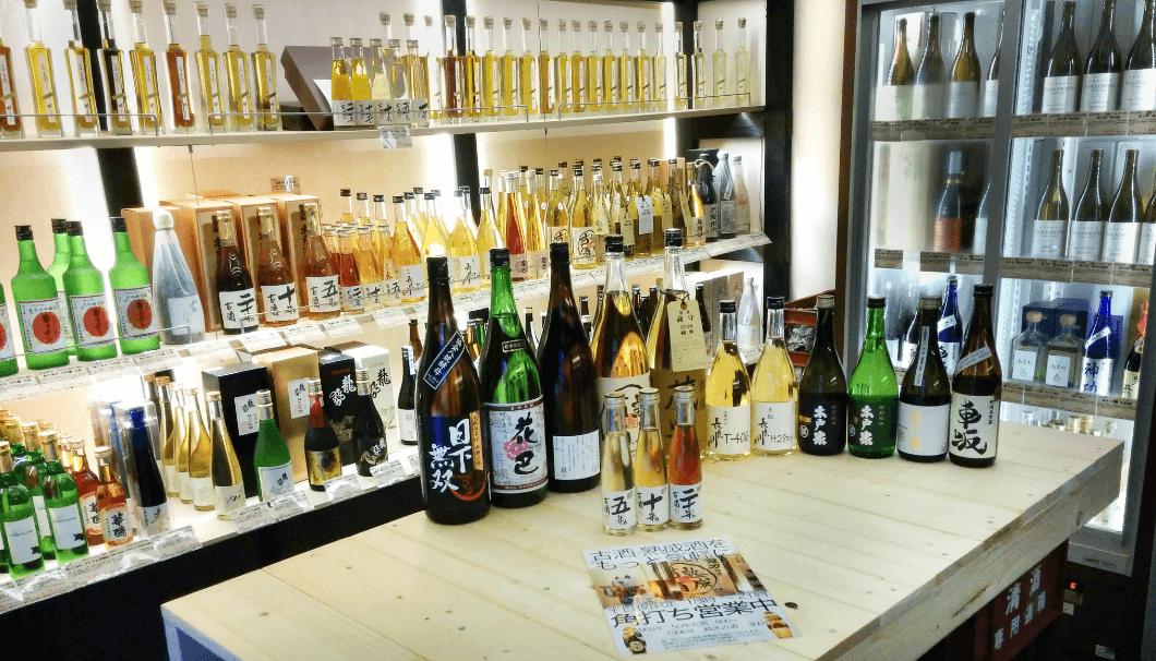 日本酒の古酒・熟成酒専門の酒屋「いにしえ酒店」店内の様子