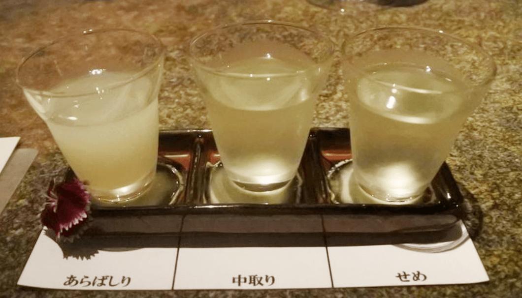井賀屋酒造場の日本酒三種が写った写真