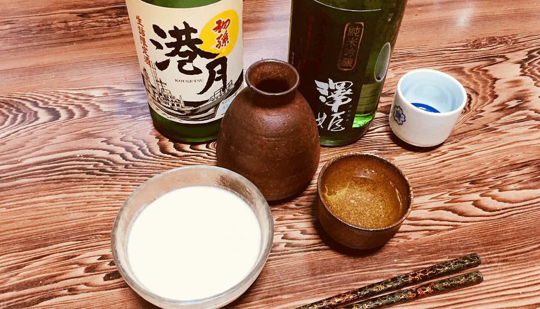 酒粕甘酒に日本酒を加えてにごり酒風に