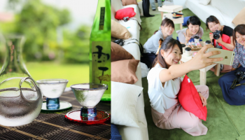 和風の「汽車カフェ」空間でくつろぐ女性たちの写真と、日本酒のボトルとグラスの写真