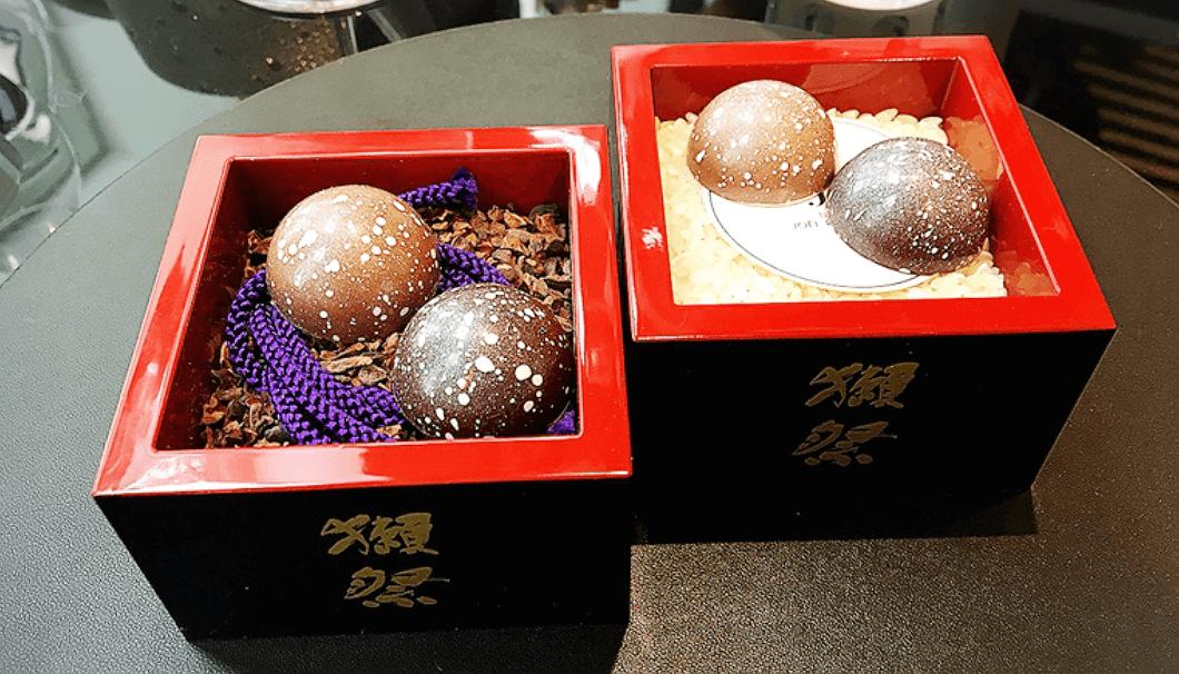 獺祭を使ったボウル形のチョコレート