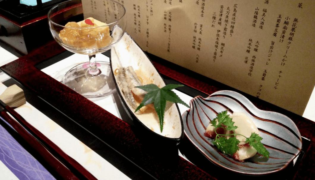 「玉蜀黍豆腐 旨出汁ジュレかけ」「小鯵の南蛮漬け」「無花果胡麻クリームかけ」