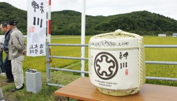 上川大雪酒造「神川」の菰樽