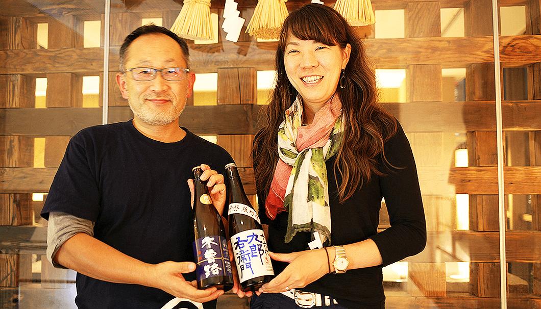 杜氏の湯川慎一さん(左)と蔵元の湯川尚子さん(右)