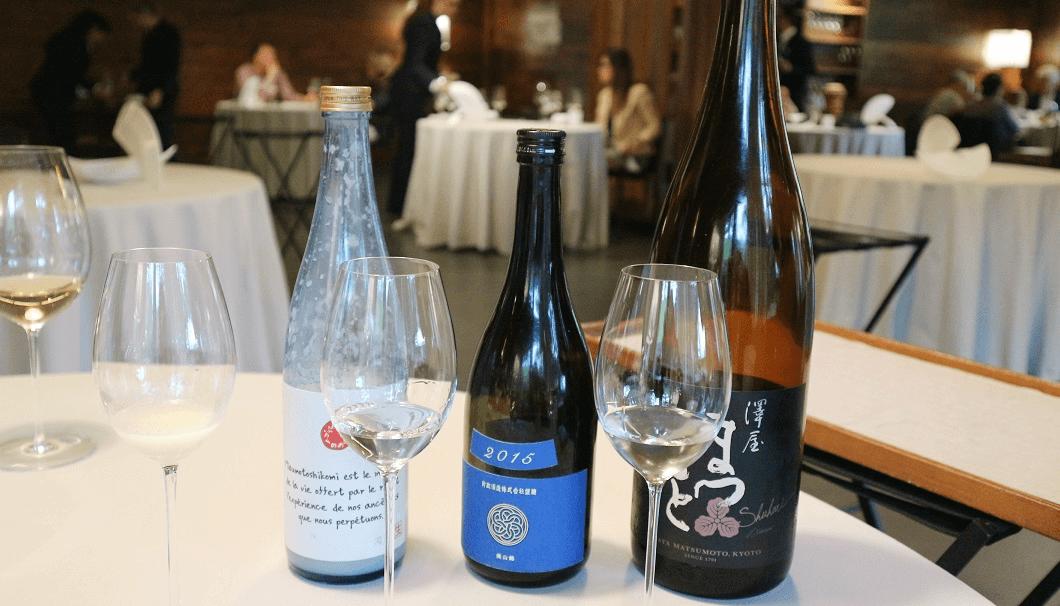 Liquid partとして提供された「とおのどぶろく 水もと」、「新政 colors 瑠璃2015 ラピス 生もと純米」、「澤やまつもと純米大吟醸 守破離」の写真