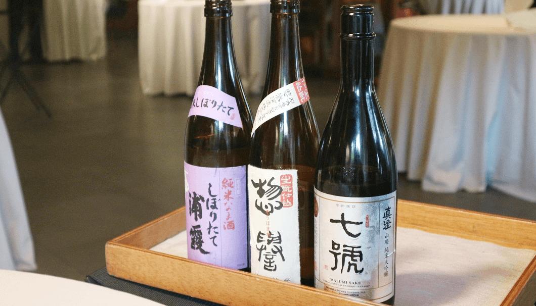 「浦霞しぼりたて純米生酒」、「惣誉 生酛仕込み 特別純米」、「真澄 純米大吟醸 七號」の写真
