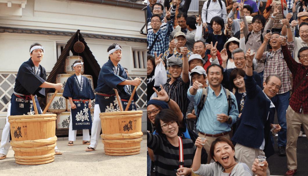賀茂鶴酒造の酒蔵イベントの写真。酒造り唄を歌う蔵人様子と、お酒をもったお客様の集合写真。