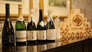 水芭蕉を醸す永井酒造の新商品「MIZUBASHO 雪ほたか Awa Sake」の発売記念イベントで提供された6銘柄の写真