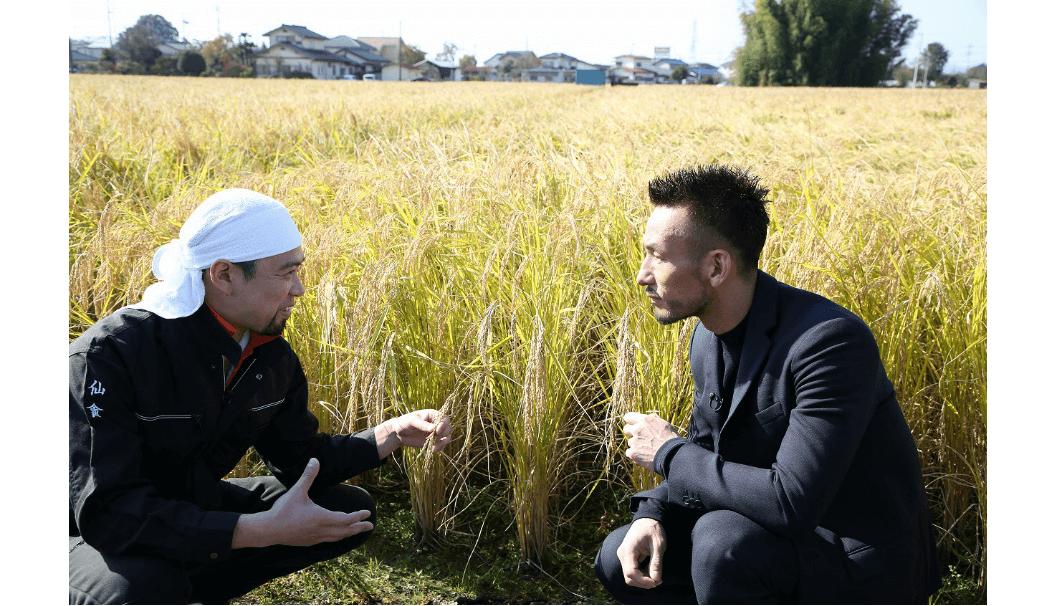 稲の前で語り合う中田英寿と蔵元