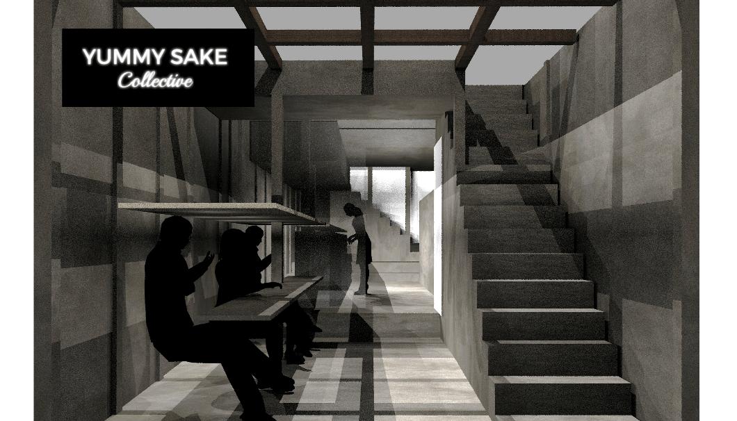 「YUMMY SAKE Collective」のイメージイラスト。何人かカウンター席に座っているモノクロ画像。