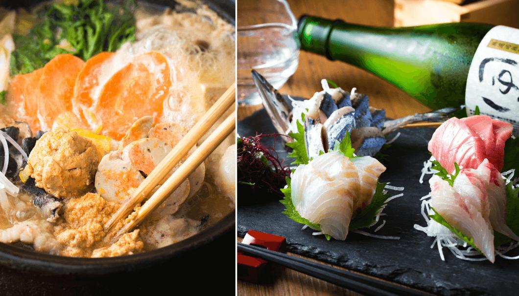 あんこう鍋の写真と、刺身料理の後ろに日本酒のボトルがある写真