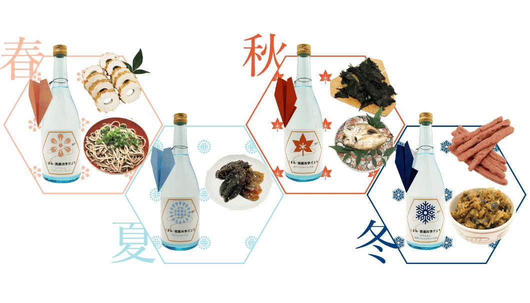 酒造・竹下本店が考案する『しまね・酒蔵四季だより』のイメージ画像。季節のお酒とお料理の写真。