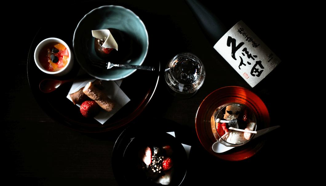 朝日酒造株式会社(新潟県長岡市)の日本酒とスイーツの写真