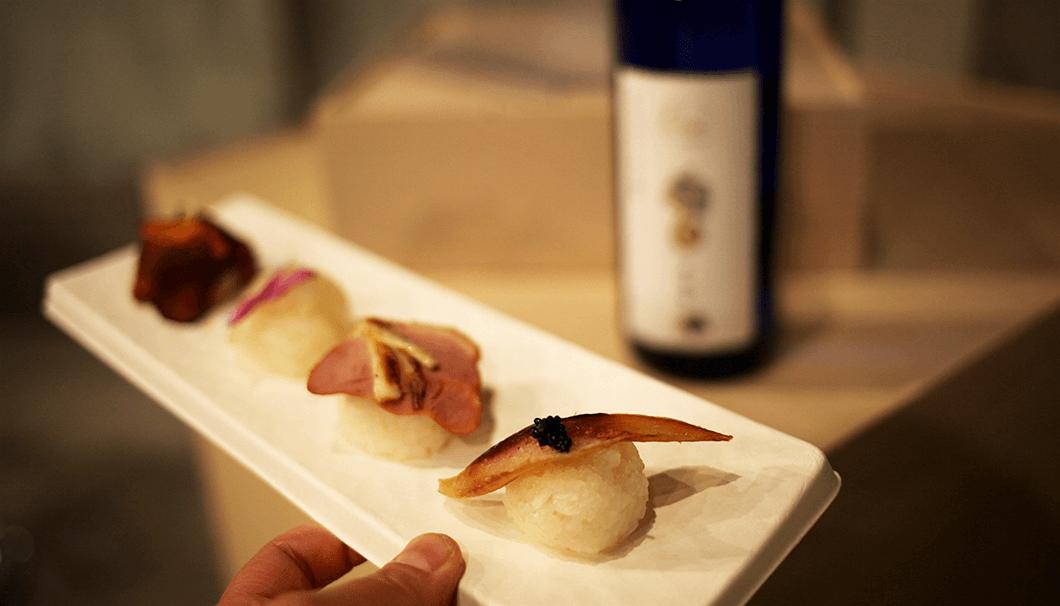 亜麻猫橘のボトルと手まり寿司