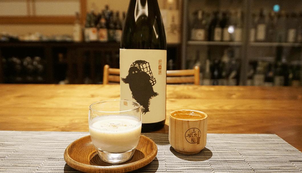 「切り干し大根のスープ」×「雪男 純米」を杉のおちょこで枡酒風に