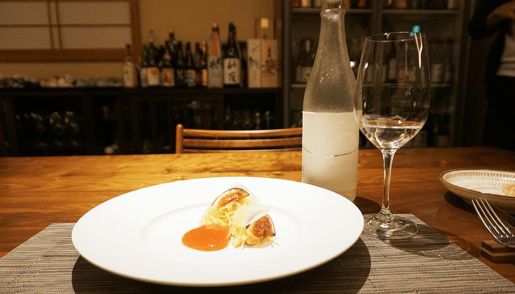 「西バイ貝のコンフィ、無花果、そうめん瓜」×「麒麟山 玉雫 大吟醸原酒」