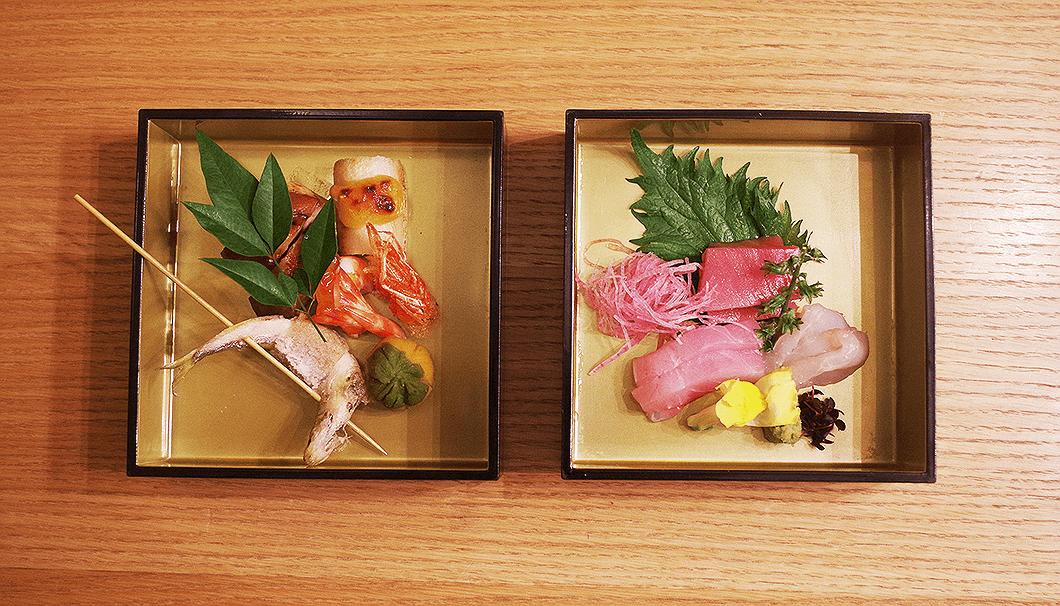 「焼きたんぽ」や「比内地鶏の八幡巻き」といった秋田の郷土料理と3種の「お造り」