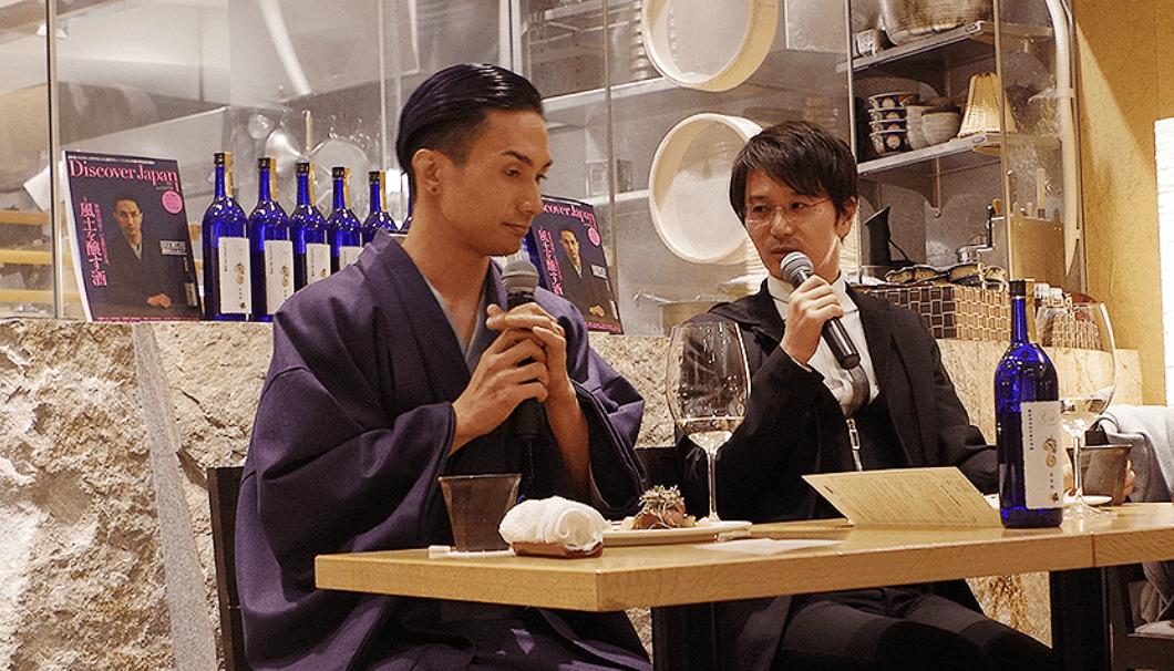 トークを弾ませる橘ケンチさんと新政酒造の佐藤祐輔さん