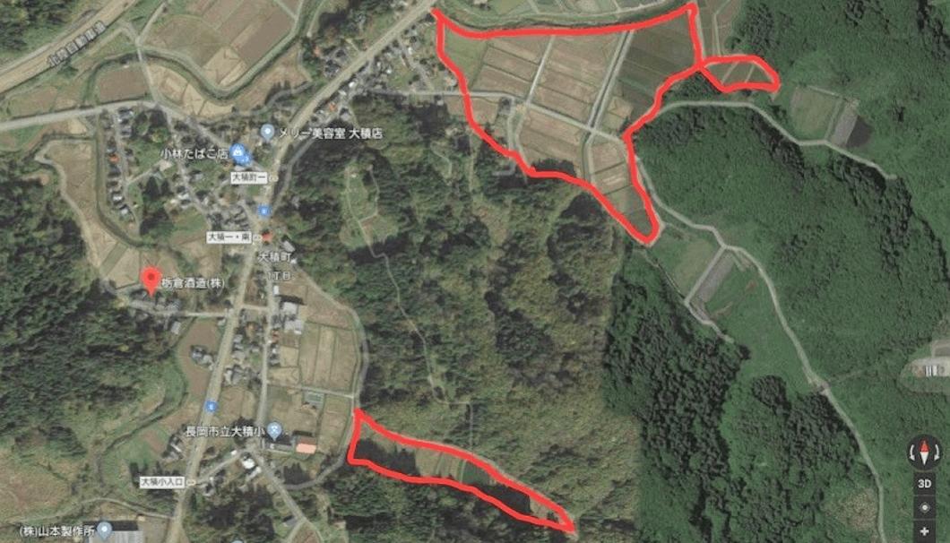 蔵と水田の地図