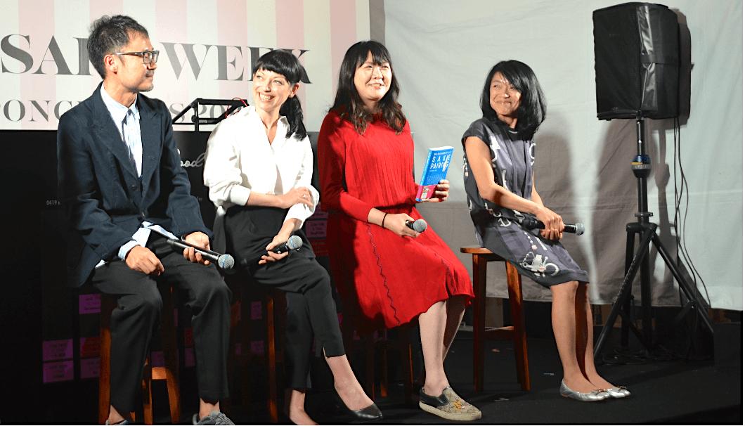 小西未来監督とメインキャストの3人