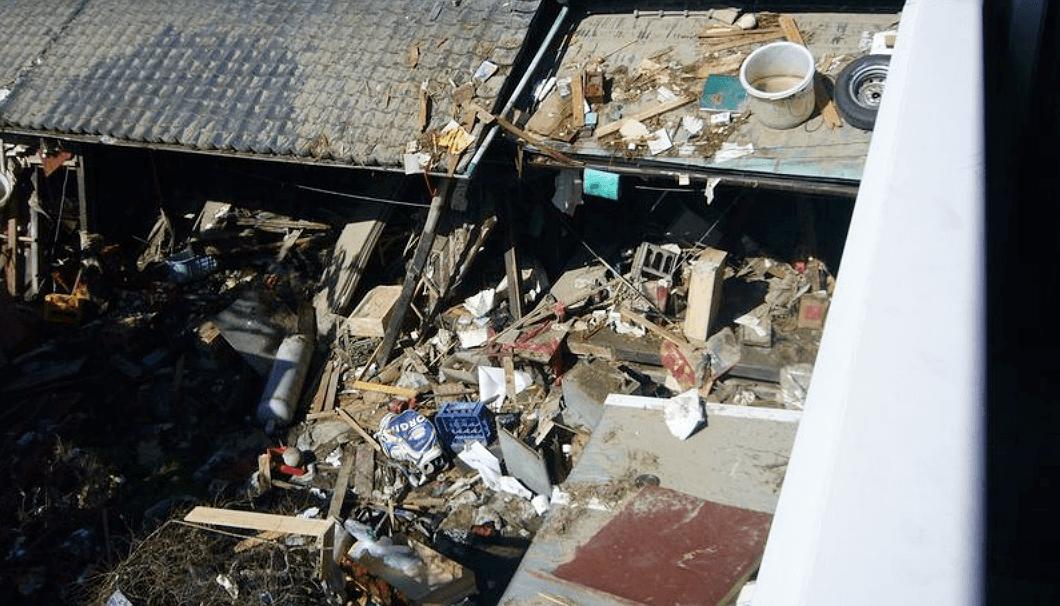 津波の被害にあった佐々木酒造店の外観