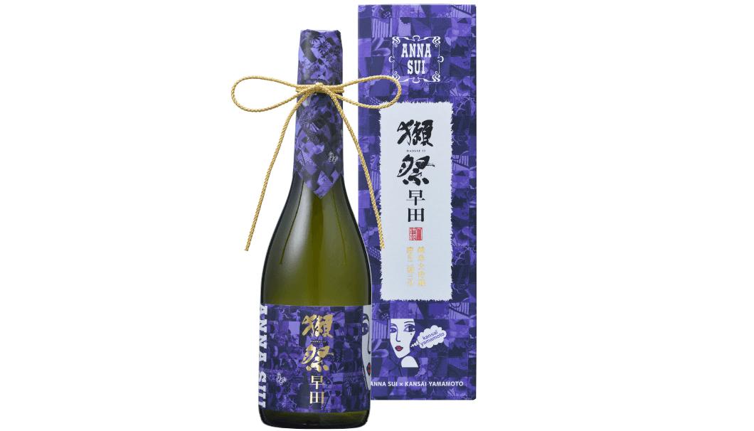 『獺祭 純米大吟醸 磨き二割三分 早田 「ANNA SUI」×「KANSAI YAMAMOTO」』の化粧箱とボトルの画像