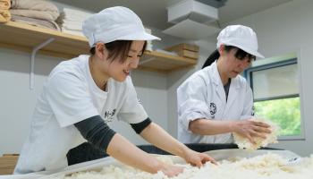 製麹作業を行う吉田さんと亀井さん